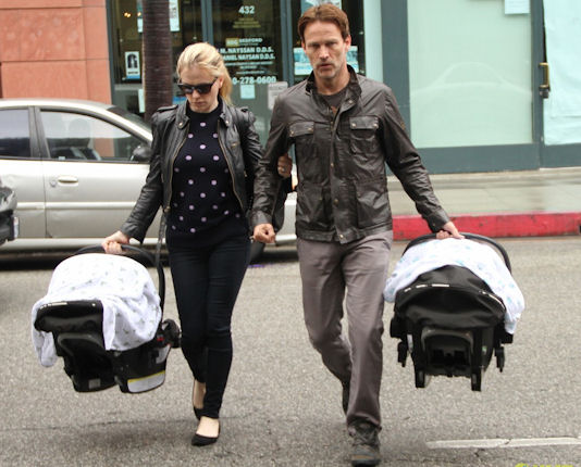 Anna Paquin and Stephen Moyer take their twins to the doctors office in Beverly Hills